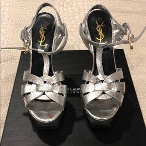 YSL Platform Tribute Sandals Size 36.5 In Silver
